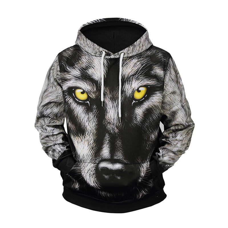 Men Sprint Autumn Sweatershirts Pullover Size M-3XL 3D Wolf Head Winter Print Hip Hop Casual Hoodies Coats