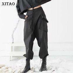 XITAO Nero Delle Donne Cargo Pantaloni di Modo Nuovo 2020 Primavera Elegante Tasca Allentato Piccolo Fresco casual di Stile Dei Pantaloni di Lunghezza Completa XJ4014