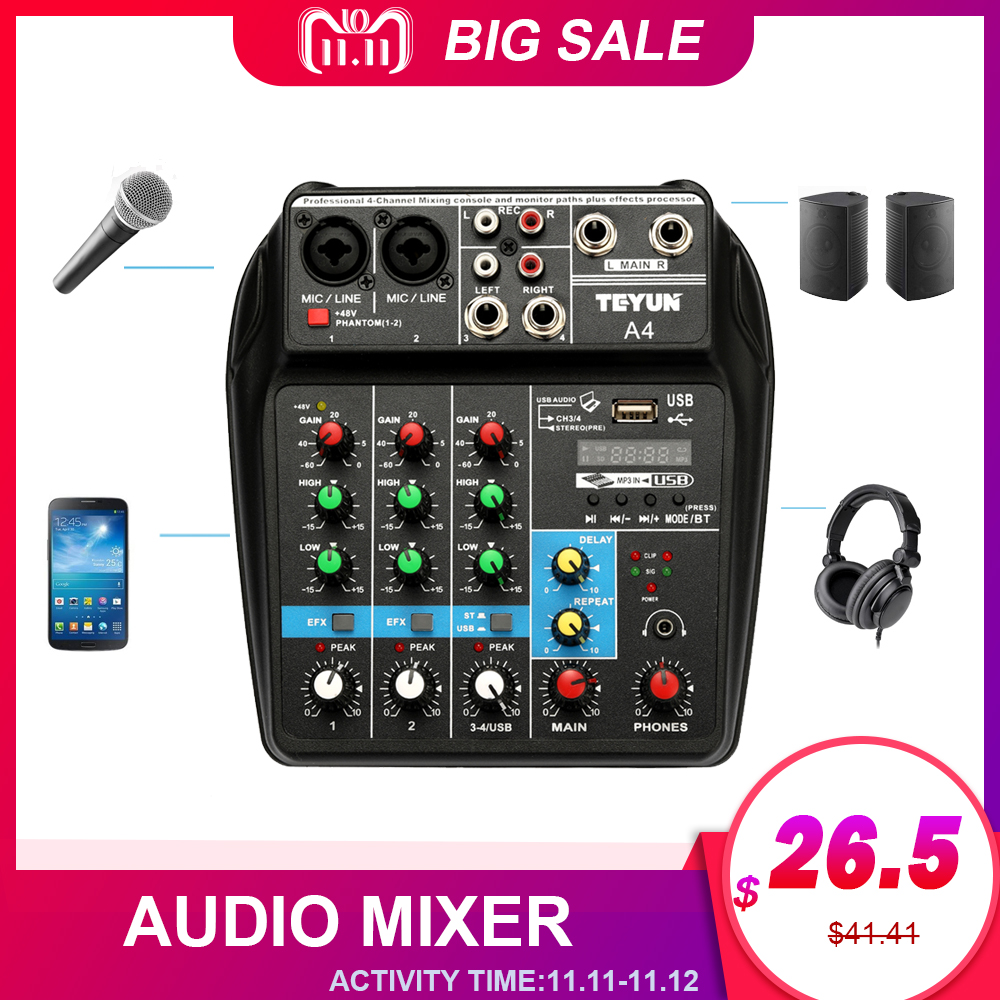 TU04 BT Mixer 48V Phantom Monitor Plus Effect 4 Channel Audio Mixer With USB Bluetooth Stage Performance Karaoke Live