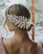 Crystal Pearl Bridal Hair Piece Women Tiara Headband Bridal Crown Pearl Bridal Headbands for Women Wedding Headdress with Flower