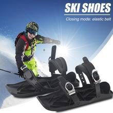 1 пара Лыжная обувь мини лыжные коньки для снега короткая Лыжная доска снежные лезвия высокое качество регулируемые крепления портативная Лыжная обувь
