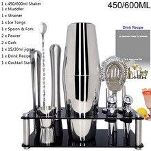 550ml/450ml/600ml/750ml copo de aço inoxidável do abanador com 15/30ml copo de medição conjunto de ferramentas da barra do jogo do cocktail do abanador do cocktail