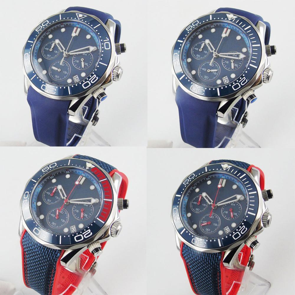 BLIGER New Nologo Blue Dial 4 Models Men Quartz Watch Chronograph 24 Hours Rotating Bezel Rubber Strap
