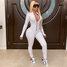 2020 New Style Women Solid Color One Piece Jumpsuit Ladies Zipper Front Long Sleeve Fitness Rompers Playsuits