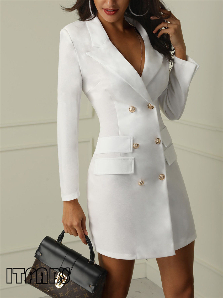 H948279f0405847c39e4647e81d86a22bV Autumn Winter Suit Blazer Women 2019 New Casual Double Breasted Pocket Women Long Jackets Elegant Long Sleeve Blazer Outerwear