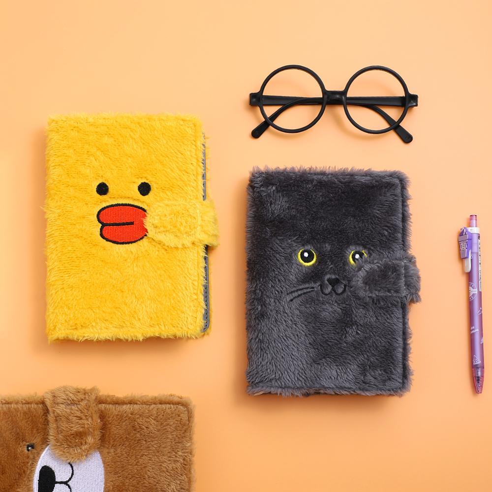 JIANWU 1pc Creative Cute Plush Diary Cartoon Animals Bullet Journal Subject Notepad Kawaii Notebook School Supplies