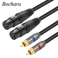 Bochar 1,5 m 2RCA macho a doble XLR hembra OFC AUX Audio Cable blindado para mezclador amplificador