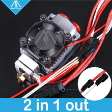 лучшая цена Hot!12v/24v Cyclops and Chimera Extruder 2 In 1 Out 2 colors Hotend Bowden with Titan/Bulldog Extruder for 3D Printer Prusa I3