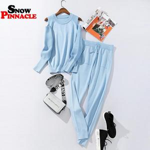Image 5 - 2020 Fashion Women sweater customes sets Spring Autumn 100% Cotton thick soft long pant knitted sets Casual 2PCS Track Suits