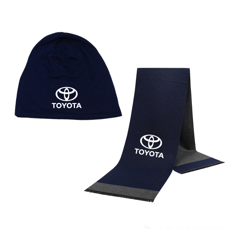 Winter Beanie Hat Toyota Car Logo Men Hat Scarf Solid Color Warm Cotton Scarf Hat Set Male Sports Hat Scarf Set 2 Pcs
