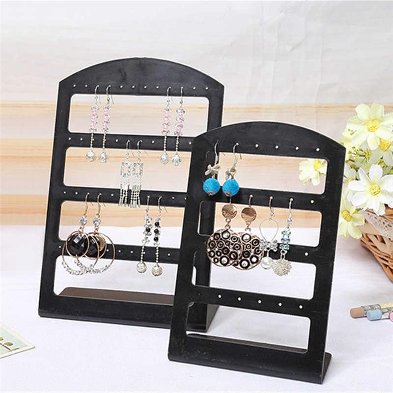 Banco di mostra di plastica Portatile 24 Fori Degli Orecchini Delle Viti Prigioniere Nero/Trasparente Jewelry Organizer Box