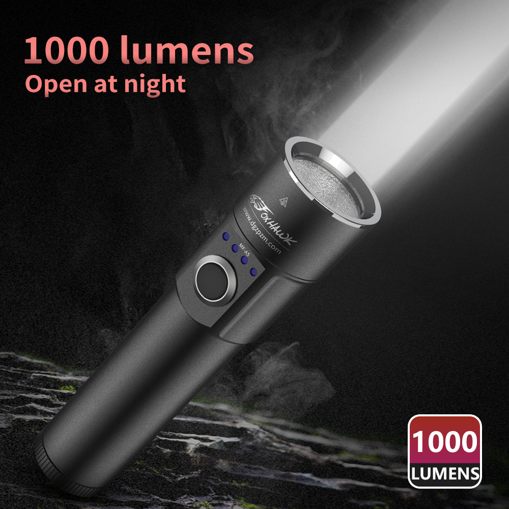 Foxhawk USB Rechargeable Flashlight, 1000 Lumens Powerful 18650 Flashlight, Cree LED, Power Bank In One, 5 Modes, With Battery