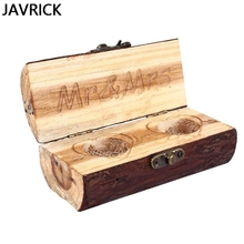 Wooden Crafts Ornaments Rings Wood Box Simple Retro Carved Romantic Wedding Engagement Ring Storage Case