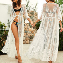 2019 Transparent White Lace Tunic Beach Cover Up Plus Size Women Beachwear Sexy See Through Bikini Cover-Ups Robe de plage Q859(China)