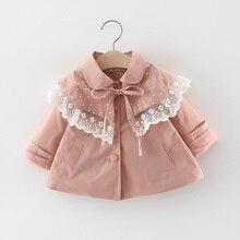 Коллекция года, модное осеннее пальто для девочек, Тренч детская верхняя одежда принцессы с кружевным отложным воротником, куртки кардиган, S9453