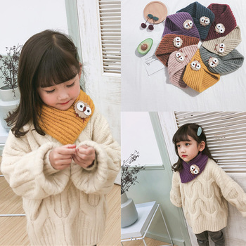 Autumn and winter new wool children's scarves solid color cute cartoon chick boys and girls baby bib knitting wild winter scarf