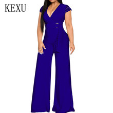 KEXU Romper Jumpsuits with Waist Belt for Women Sexy V-neck Wide Leg Playsuits Summer Casual Office Ladies Fashion Overalls
