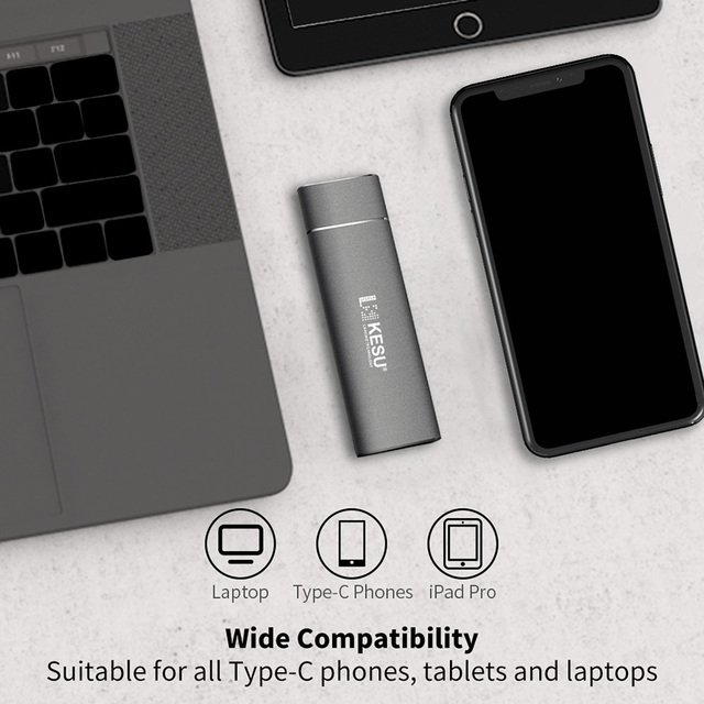 KESU SSD 256GB 512GB 1T Portable Solid State Drive USB 3.1 Gen 2 540M/s External Storage Compatible for Mac Latop/Desktop/Tablet 3