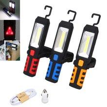 цена на Hand/Inspection Lamp COB LED Magnetic Work Light Car Garage Mechanic Rechargeable Torch Lamp Camping Light Built-in battery