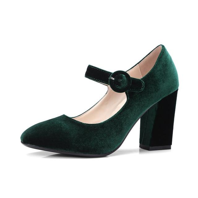 Quality Velvet Green Women's Heels