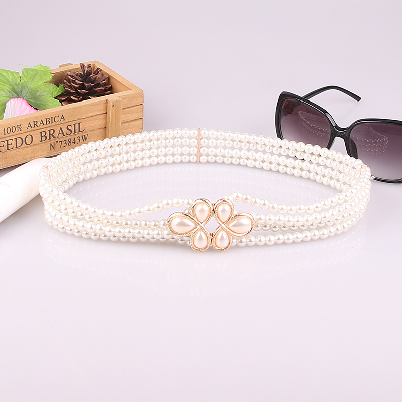 Deepeel 1oc 3.3cm*66cm Ladies Wild Fashion Pearl And Diamond Flower Cummerbunds New Women Corset Belt With Evening Dress YK714