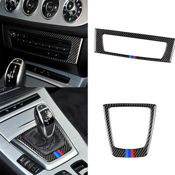Автомобильные аксессуары из углеродного волокна переключение передач CD панель управления крышка рамка отделка наклейка для BMW Z4 E85 E89 серии ...