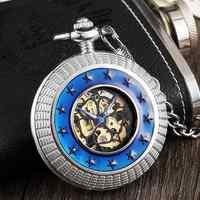 Retro Hohl Mechanische Taschenuhr Mit FOB Kette Blau Surround Kleine Sterne Jahrgang Mens Womens Handaufzug Taschenuhr