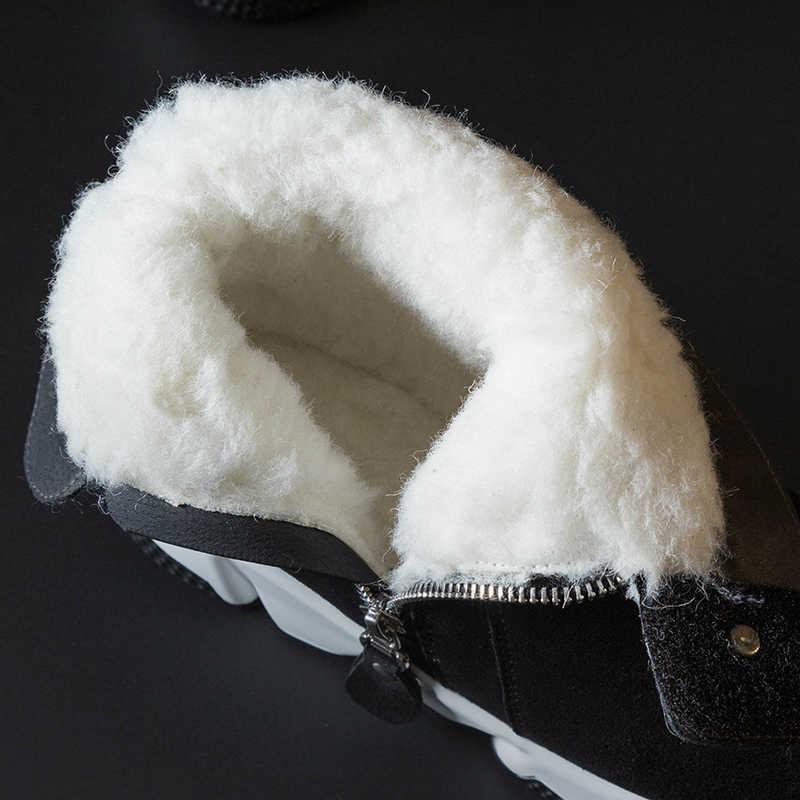 Donna-in doğal kürk kadın yarım çizmeler platformu artı boyutu gerçek deri sıcak yün kış ayakkabı kalın topuk siyah Zip moda Femme