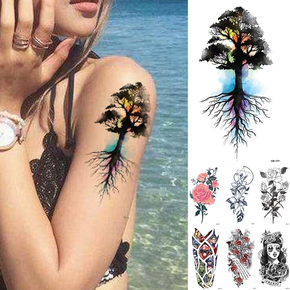 Tree Of Life Temporary Tattoo Sticker ,Waterproof Flower Flash Tatto, Rose Body Art Arm Fake Tatoo Women Men