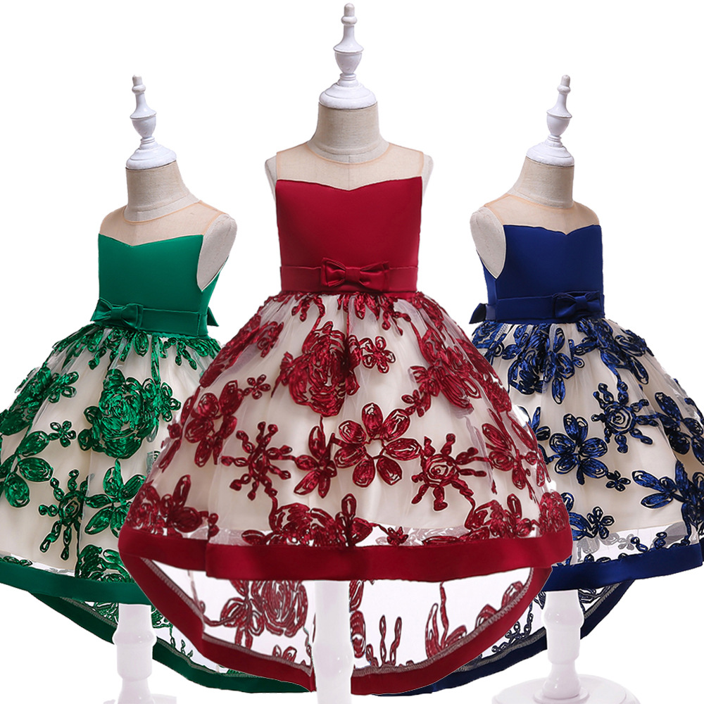 Children Formal Dress New Style Skirt Crew Neck Tube Top Dress Chinese-style KID Dress Tailing Formal Dress