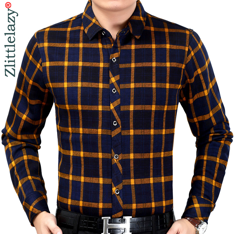 2019 Brand Casual Plaid Winter Warm Thick Slim Fit Men Shirt Streetwear Social Dress Vintage Shirts Mens Fashions Jersey 90350