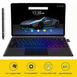 11,6 zoll Tablet 2 in 1 Laptop Tablet mit tastatur Ultrabook Typ-C MT6797 X20 10 Kerne Android 8.1 1920*1080 128GB ROM