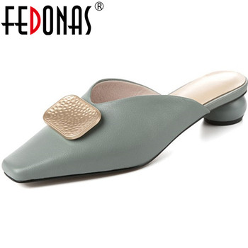 FEDONAS Metal Decorations Women Genuine Leather Shoes Woman Thick Heels Sandals Fashion Close Toe Summer Slippers Ladies Sandals