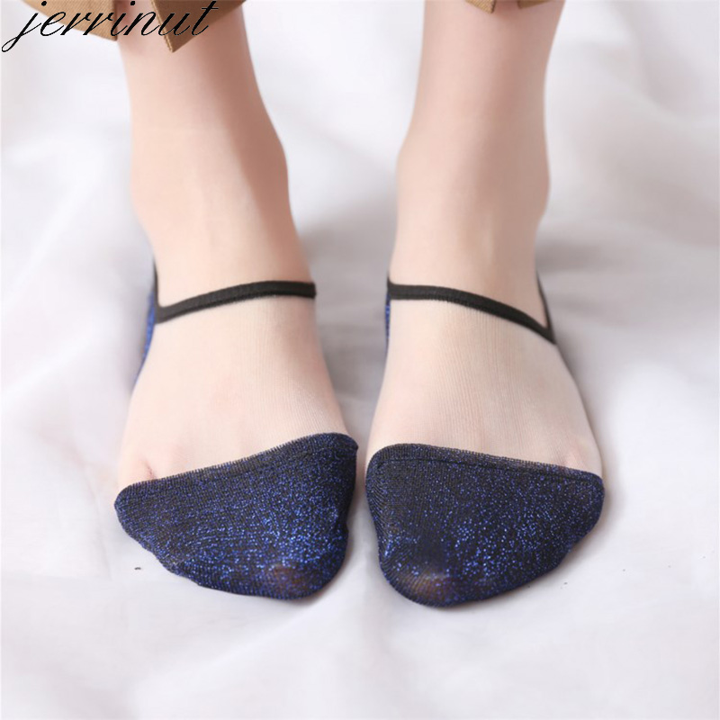 Women's Ankle Socks Transparent Invisible Socks No Show Ankle Half Glitter Sock Mesh Sheer Half Thin Socks 5 Pairs = 10 Pieces