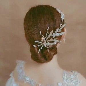 Image 2 - Korean Handmade Yarn Brides Headbands Rhinestone Soft Flower Bridal Hairbands Wedding Hair Accessories Evening Headdress