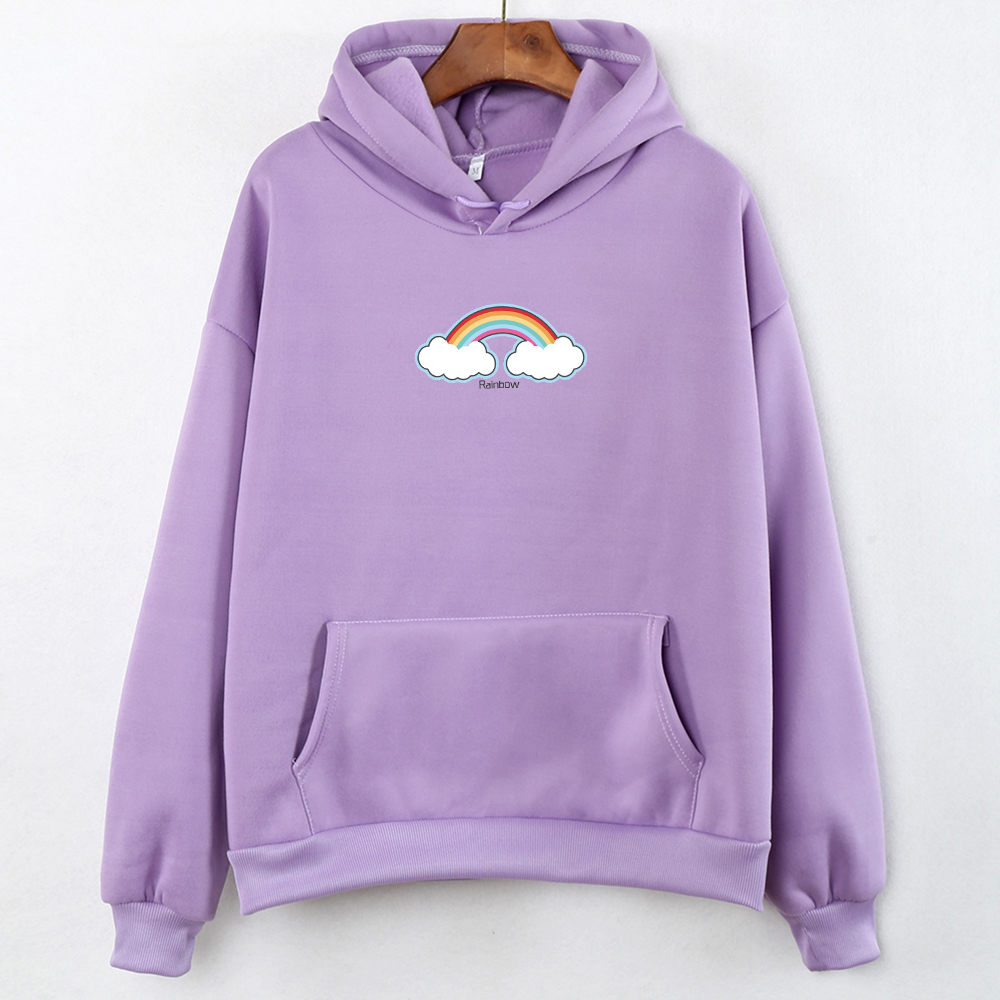Cute Soft Sweatshirts For Women Warm Hoodie Woman Hood Stree Twear Kawaii Female Clothes Cloud Rainbow Print Long Sleeve