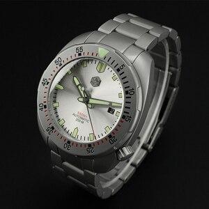 Image 3 - San Martin Bracelet métallique résistant à leau, sablage en acier inoxydable, sablage automatique, mécanique, saphir montre pour hommes lumineux