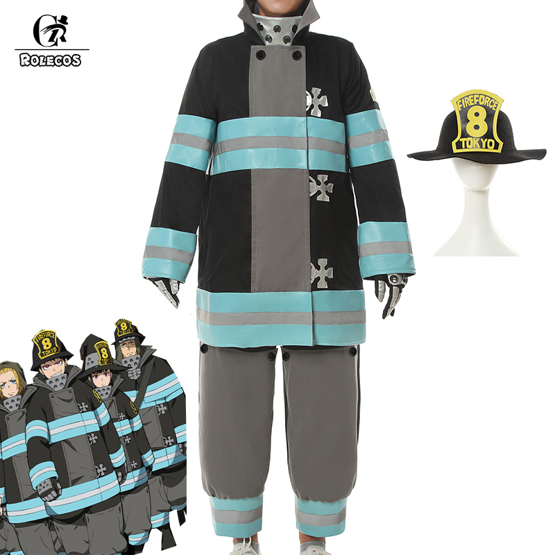 ROLECOS Anime Fire Force Cosplay Costume Shinra Kusakabe Maki Oze Firefighter Uniform Enen No Shouboutai Men Cosplay Suit Hat