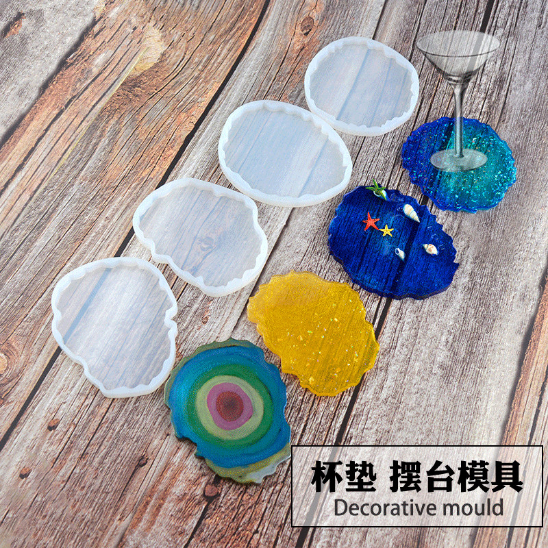 4 Shapes Wave Coaster Mold DIY Crystal Drip Glue Wave Baking Mold Manual Mirror Resin Cloud Silicone Mold