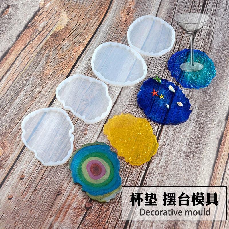 4 Shapes Wave Coaster Mold DIY Crystal Drip Glue Wave Baking Mold Manual Mirror Resin Cloud Silicone Mold