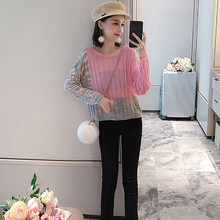 цена на Long Sleeve Color Matching Thin Crew Neck Short Autumn Pullover Asymmetric Women Sweater