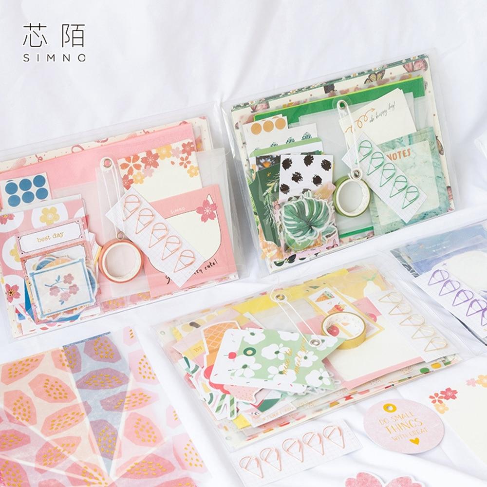 1pack Gift For You Series Journal Material Bag Set Scrapbook Sketchbook Diy Sickers Bokmark Evelope Mmo Pad Set