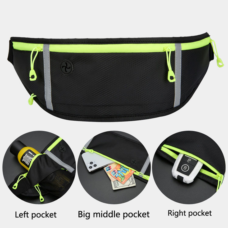 Night Safety Reflective Women men Running Belt Bag Sport Waist Band Bag Pack Gym Fitness Bag for 6 Inch Phone Holder