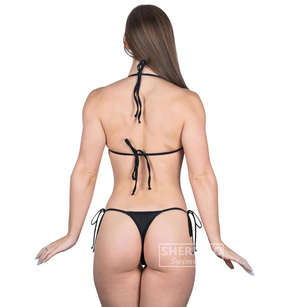 Sheer Bikini przepuszczalność mikro Bikini czerwona siatka patrz Thru Biquini opalania G String stringi brazylijski dno Biquinis trójkąt, top
