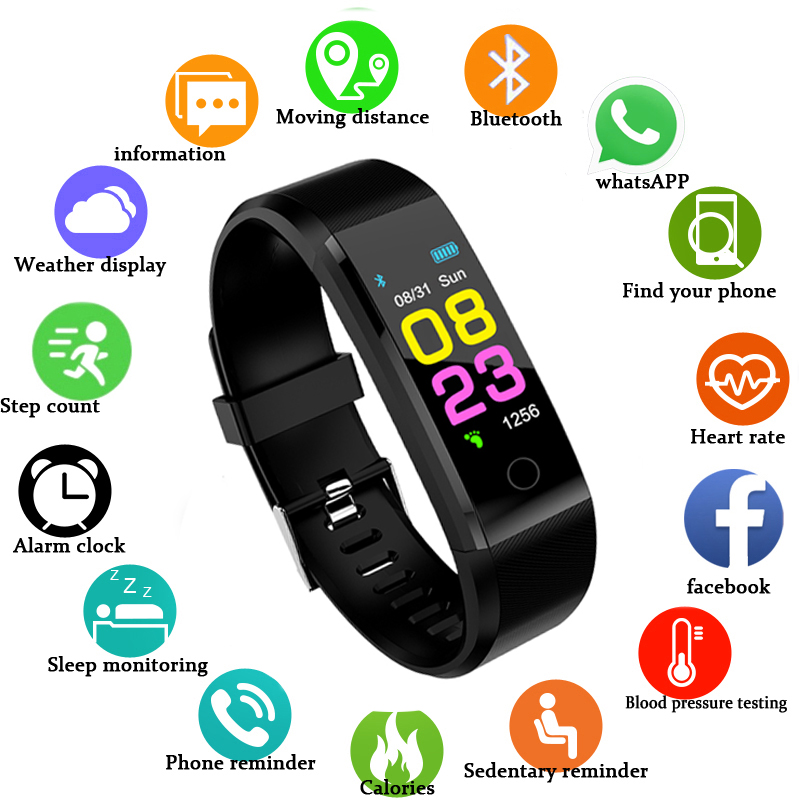 Sport Smart watch waterproof Activity Fitness tracker Wristband Heart rate monitor BRIM title=