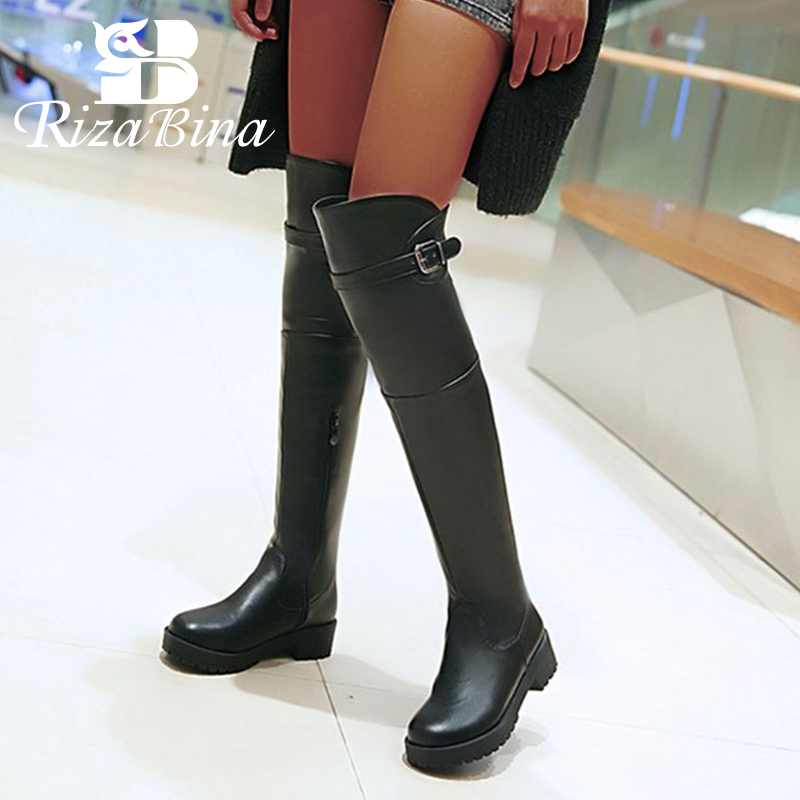 RIZABINA Women Round Toe Flat Over Knee Boot Winter Warm Leisure Knight Long Boot Botas Footwear Shoes P21910 Size 33-43