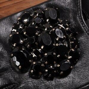 Image 4 - Gours Winter Genuine Leather Gloves Women Fashion Brand Black Stone Driving Fingerless Gloves Ladies Goatskin Mittens GSL040