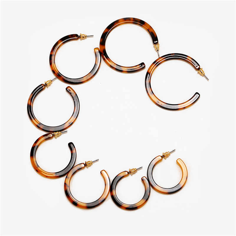 17KM Vintage Acetic Acid Leopard Print Hoop Earring For Women Resin C Shaped 4 Pair/set Brincos Statement Earrings Accessories