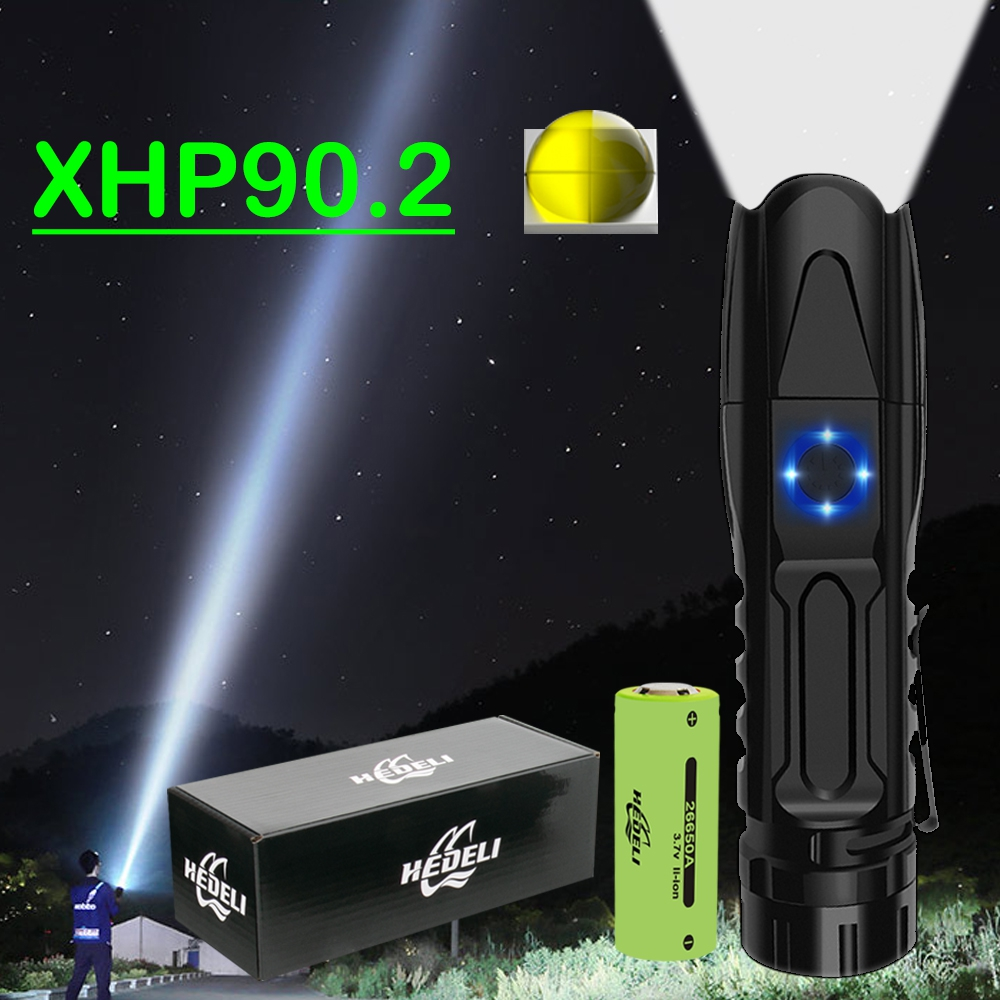Mini 300000 Lumen Xhp90.2 Most Powerful Led Flashlight Torch Xhp70 Rechargeable Tactical Flashlights Usb Xhp50 Hand Lamp Xhp70.2