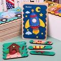 1 PC Doppel-seitige 3D Puzzle Cartoon Streifen Holz Kreative Baby Spielzeug Erzählen Geschichten Stacking Puzzle Montessori Spielzeug für kinder